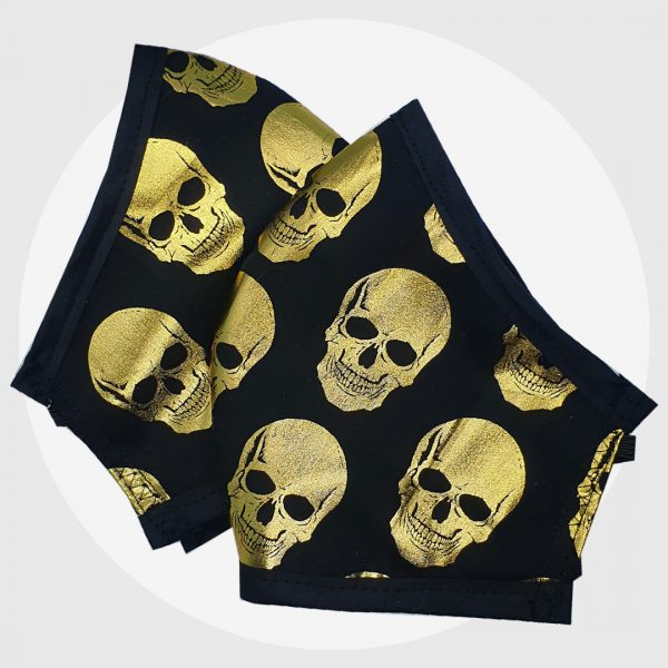 Metallic Gold Skulls - fitted face mask | PIRATE SPIRIT