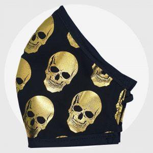 Metallic Gold Skulls - fitted face mask | PIRATE SPIRIT